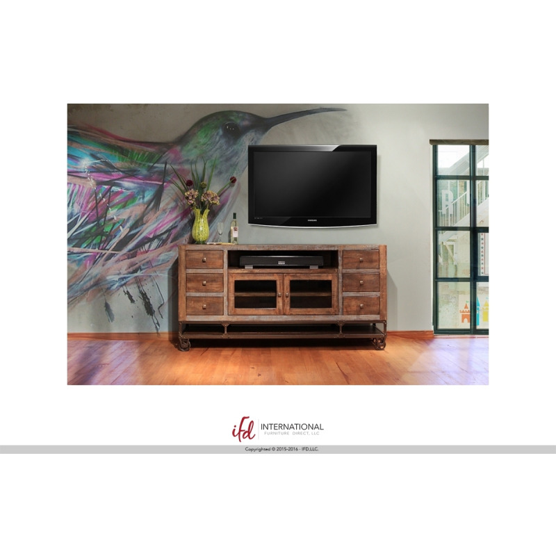 52in Tv Stand W 2 Glass Doors 2 Drawers By Artisan Home Godwin S